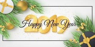 С Новым Годом! знамя 2019 сети Количества золотых ярких блесков Ель с подарочной коробкой, шариками рождества золотыми, серпентин бесплатная иллюстрация