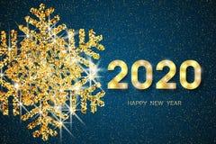 2020 С Новым Годом! Золотые номера, яркий блеск и снежинка на темно-синей предпосылке Нового Года поздравительная открытка 2020 r иллюстрация штока