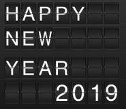 С Новым Годом! карта 2019 в доске solari табло, flightb иллюстрация вектора