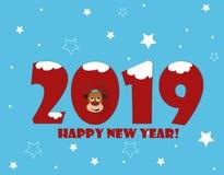 С Новым Годом! картина дизайна 2019 текстов Падуб, декабрь иллюстрация штока