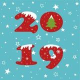 С Новым Годом! картина дизайна 2019 текстов иллюстрация штока