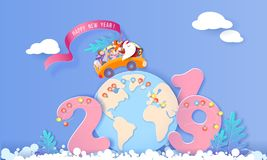 2019 С Новым Годом! карт дизайна с Санта Клаусом иллюстрация вектора