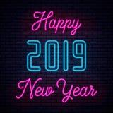 2019 С Новым Годом! неоновое иллюстрация вектора