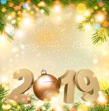 С Новым Годом! предпосылка 2019 с деревом и шариком иллюстрация вектора