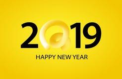 2019 С Новым Годом! приветствуя знамен с курчавым кабелем свиньи в форме номера Символ китайского 2019 год иллюстрация вектора