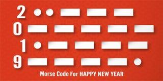 С Новым Годом! украшение 2019 на красной предпосылке Иллюстрация вектора с дизайном каллиграфии номера азбуки Морзе в отрезке бум стоковое изображение rf