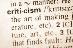 Словарное определение критицизма слова Стоковое Изображение