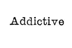 ` ` Слова вызывающее привыкание от машинки на белизне Стоковая Фотография