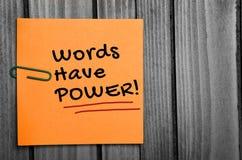 Слова имеют слово силы Стоковая Фотография