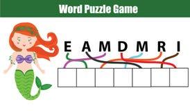 Слова озадачивают игру детей воспитательную с лабиринтом писем Установите в правом заказе иллюстрация вектора
