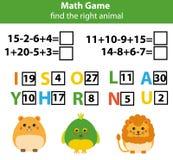 Слова озадачивают игру детей воспитательную с уровнениями математики Игра подсчитывать и писем Учить номера и терминологию Стоковое Изображение