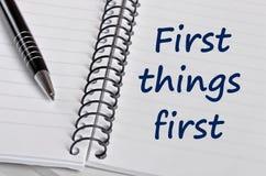 Слова первых вещей первые Стоковое Изображение RF