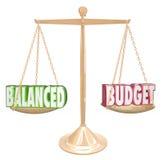 Слова сбалансированного бюджета 3d вычисляют по маcштабу финансовый равный дохода цен Стоковое Изображение