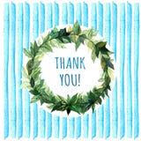 Слова спасибо в простом и милом флористическом венке круга с ветвями весны выходят банкы рисуя цветя замотку акварели валов реки  Стоковая Фотография