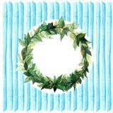 Слова спасибо в простом и милом флористическом венке круга с ветвями весны выходят банкы рисуя цветя замотку акварели валов реки  Стоковые Фото