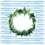 Слова спасибо в простом и милом флористическом венке круга с ветвями весны выходят банкы рисуя цветя замотку акварели валов реки  Стоковое Изображение