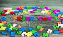 Слова спасибо с письмами стоковое изображение rf