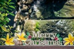 Слова с Рождеством Христовым на деревянной поверхности с цветками и раковинами plumeria Азиатский балийский стиль Фонтан сада на  Стоковое Изображение RF