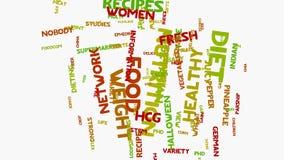 Слова яблока питания здоровой еды на белизне, здоровом оформлении wordcloud еды иллюстрация штока