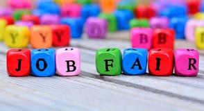Слова ярмарки вакансий на таблице Стоковая Фотография