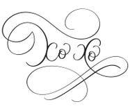 Слова xo Xo на белой предпосылке Иллюстрация нарисованная рукой каллиграфии литерности вектора EPS10 Стоковые Фото