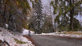 Словения Осень След в долине акции видеоматериалы