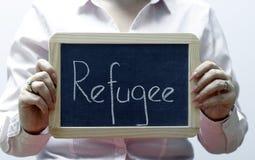 Слово беженца написанное на классн классном/chalckboard Стоковые Фото