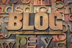 Слово блога в деревянном типе Стоковое фото RF