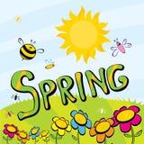 Слово весны, цветки и вектор бабочки. Стоковая Фотография