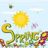 Слово весны, цветки и вектор бабочки. Стоковые Изображения RF