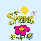Слово весны, цветки и вектор бабочки. Стоковая Фотография RF