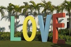 Слово ВЛЮБЛЕННОСТЬ с цветастыми прописными буквами Стоковое Изображение RF