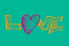 слово влюбленности иллюстрации руки чертежа конструкции основы графическое вычерченные письма руки Стоковое Изображение RF