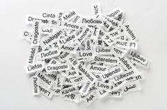 Слово влюбленности многоязычное Стоковые Изображения RF