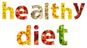 Слово диеты фруктов и овощей стоковое фото rf