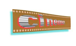 Слово кино написанное в черно-белом на пустом sepia предпосылки прокладки фильма Стоковая Фотография