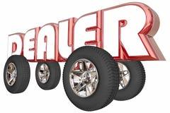 Слово колес продаж продавца тележки автомобиля торговца иллюстрация штока