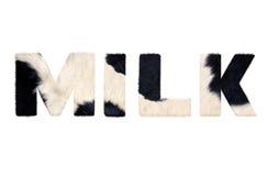 Слово молока от меха коровы Стоковая Фотография RF