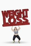 Слово потери веса женщины поднимаясь Стоковое Изображение