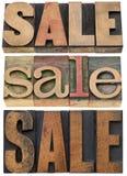 Слово продажи в деревянном типе Стоковые Изображения
