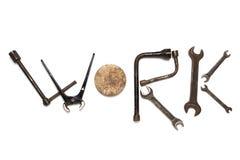 Слово работы сделанное от старых инструментов Стоковые Фото