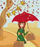 слово сбывания листьев осени красное Стоковое фото RF