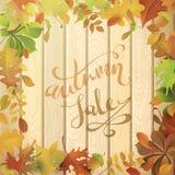 слово сбывания листьев осени красное Стоковые Фотографии RF