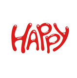 Слово стиля шаржа счастливое также вектор иллюстрации притяжки corel Стоковая Фотография RF