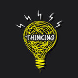 Слово творческий думать на дизайне шарика эскиза Стоковое Фото