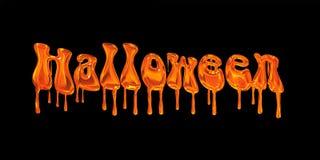 Слово хеллоуин капания оранжевое Стоковое фото RF