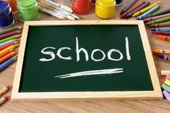 Слово школы написанное на классн классном, назад к концепции школы Стоковое фото RF