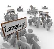Слово языка подписывает различные разнообразные общины Стоковая Фотография