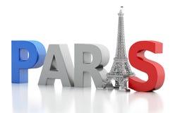 слово 3d Парижа с Эйфелевой башней Стоковое фото RF