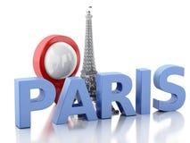 слово 3d Парижа с Эйфелевой башней Стоковое Изображение